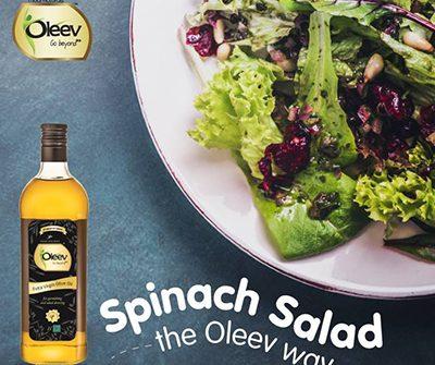 Oleev NUtty Spinach Salad