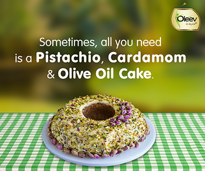 Pistachio Cardamon and Olive Oil Cake